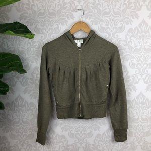Ann Taylor Crop Jacket Hoodie Olive